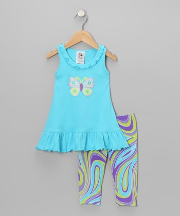 Teal Butterfly Ruffle Dress & Leggings - Girls