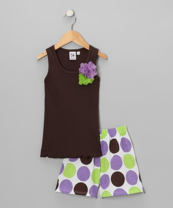 Brown Ruffle Tank & Polka Dot Shorts - Toddler & Girls