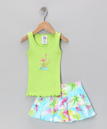 Lime Flamingo Ruffle Tank & Skort - Toddler & Girls