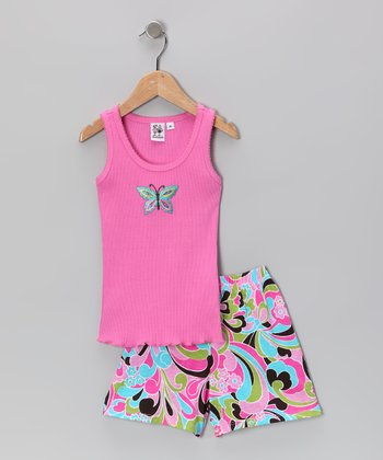 Pink Butterfly Ruffle Tank & Shorts - Toddler & Girls