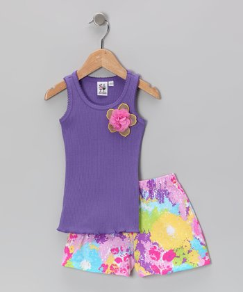 Purple Blossom Ruffle Tank & Shorts - Toddler & Girls