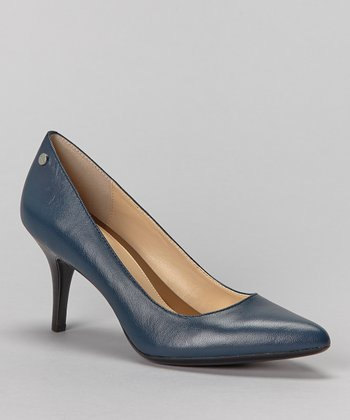 Dark Blue Leather Ashley Pump