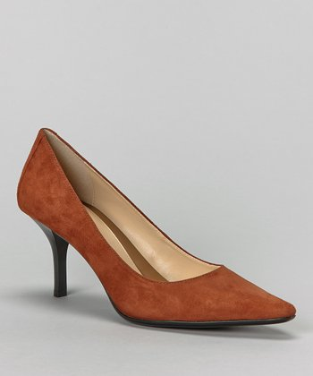 Cognac Suede Dolly Pump