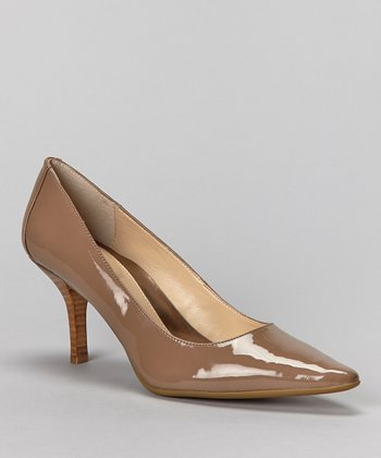 Taupe Patent Leather Dolly Pump