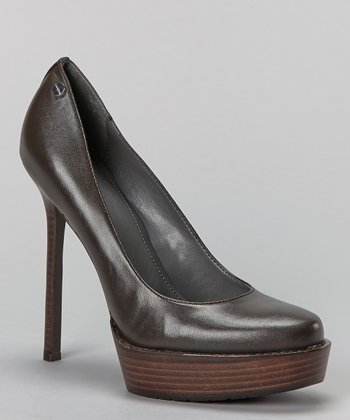 Dark Brown Leather Dria Platform Pump