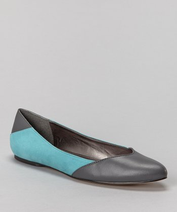 Teal & Gray Leather Emelia Flat