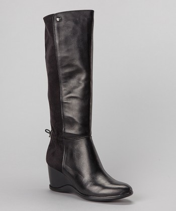 Black Leather Ilisa Wedge Boot