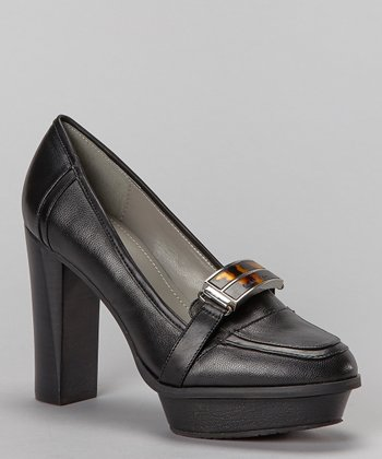 Black Leather Mariella Platform Pump