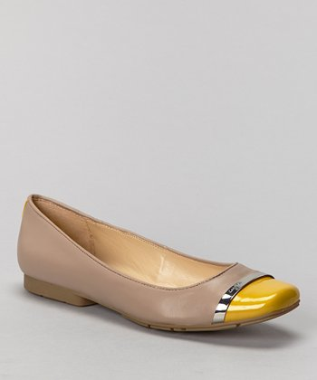 Light Taupe & Yellow Leather Pash Flat