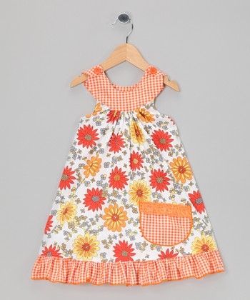 Orange Daisy Trapeze Dress - Toddler & Girls