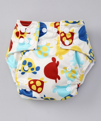 White Turtles Pocket Diaper