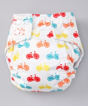 White Bicycle Pocket Diaper