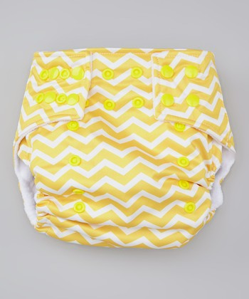 Yellow Zigzag Pocket Diaper
