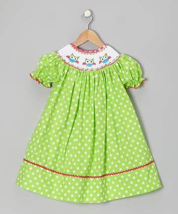 Green Polka Dot Owl Bishop Dress - Infant, Toddler & Girls
