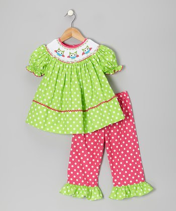 Green Polka Dot Owl Top & Pink Pants - Infant, Toddler & Girls