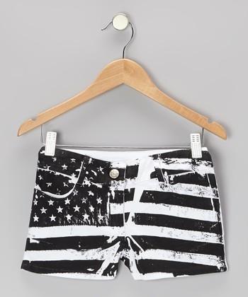 Black & White Flag Coachella Shorts - Girls