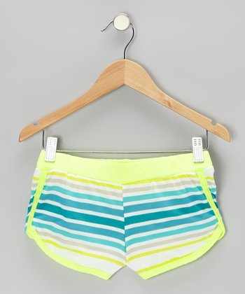 Yellow & Teal Stripe Neon Butterfly Shorts - Girls