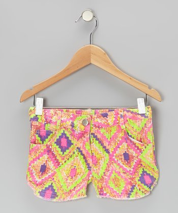 Neon Pink & Orange Diamond Valley Girl Shorts - Girls