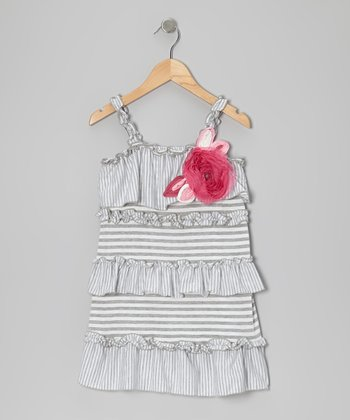 Gray Stripe Hot & the Gang Dress - Girls