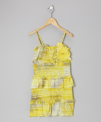 Yellow Stripe Chili Pepper Dress - Girls