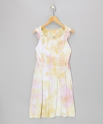 Yellow & Pink Tie-Dye Jamaica Dress - Girls