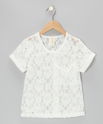 White Lace Capri Top - Girls