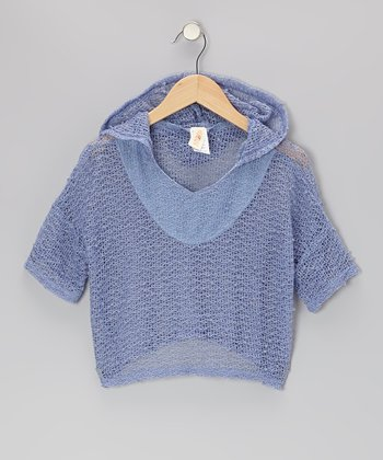Light Blue Laguna Knit Poncho - Girls