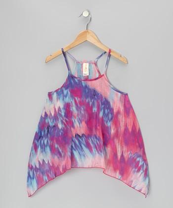 Pink & Purple Rio Silk Top - Girls