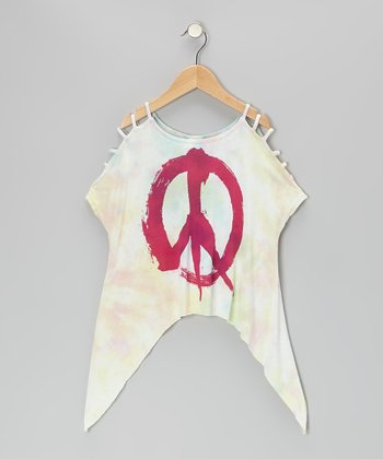 White & Red Tie-Dye Jamaica Peace Top - Girls