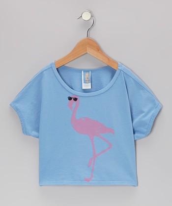 Blue Flamingo Beach Girl Top - Girls