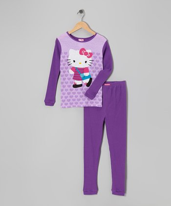 Purple Hello Kitty Thermal Pajama Set - Girls