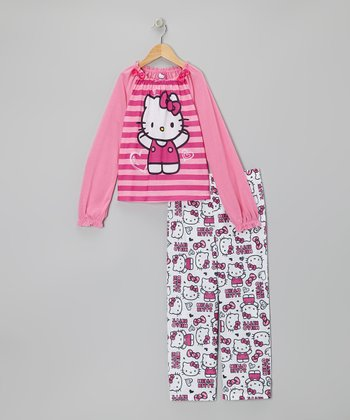 Pink Stripe Hello Kitty Pajama Set - Girls