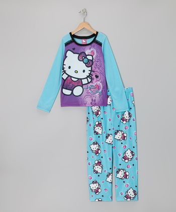Turquoise & Purple Hello Kitty Pajama Set - Girls