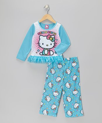 Turquoise Hello Kitty Ruffle Pajama Set - Toddler