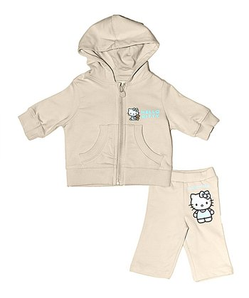 Cream Hello Kitty Organic Hoodie & Pants - Infant