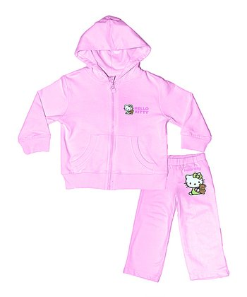 Light Pink Hello Kitty Organic Hoodie & Pants - Infant