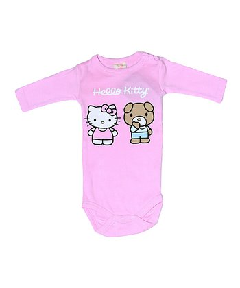 Pink Hello Kitty Organic Long-Sleeve Bodysuit - Infant