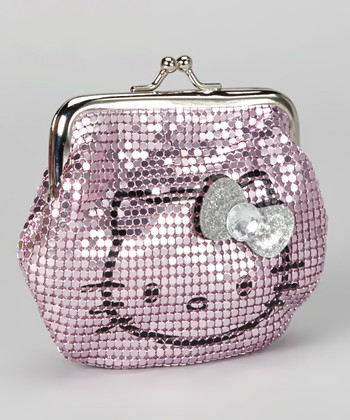 Pink Metal Mesh Hello Kitty Kiss Lock Coin Purse