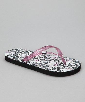 White & Pink Hello Kitty Leopard Flip-Flop