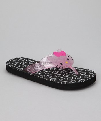 Black & White Hello Kitty Flip-Flop