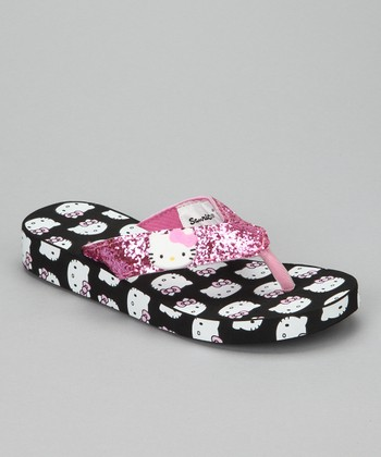Black & Pink Hello Kitty Flip-Flop