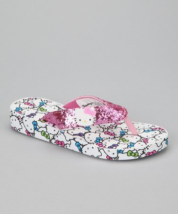Pink & White Hello Kitty Flip-Flop