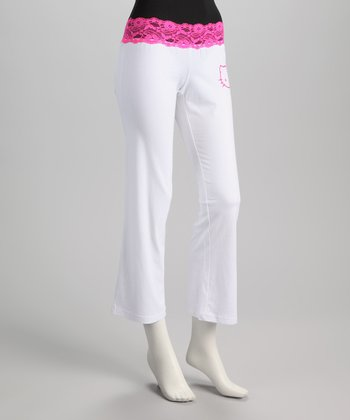 White & Pink Lace Trim Hello Kitty Sweatpants - Women