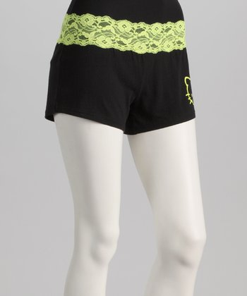 Black & Yellow Lace Trim Hello Kitty Boxers - Women