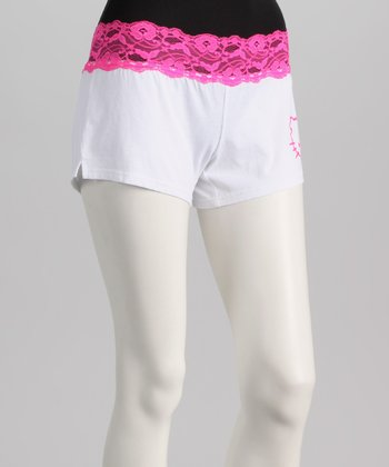 White & Pink Lace Trim Hello Kitty Boxers - Women