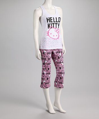 White & Pink Hello Kitty Pajamas - Women