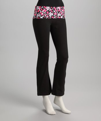 Black & Pink Leopard Hello Kitty Yoga Pants - Women