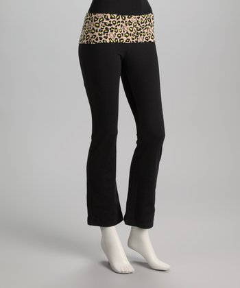 Black & Yellow Leopard Hello Kitty Yoga Pants - Women