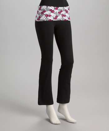 Black & Pink Hello Kitty Yoga Pants - Women