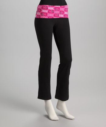 Black & Pink Hello Kitty Logo Yoga Pants - Women